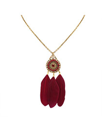 Fashion Red Feathers Pendant Decorated Water Drop Shape Necklace