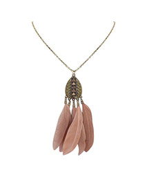 Fashion Pink Feathers Pendant Decorated Water Drop Shape Necklace