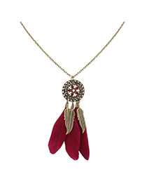 Fashion Red Feathers&leafs Pendant Decorated Hollow Out Round Shape Necklace
