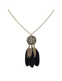 Fashion Black Feathers&leafs Pendant Decorated Hollow Out Round Shape Necklace