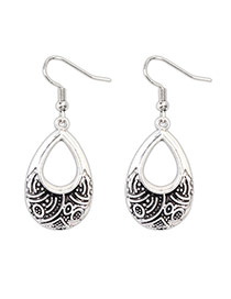 Vintage Silver Color Waterdrop Shape Decorated Hollow Out Earrings