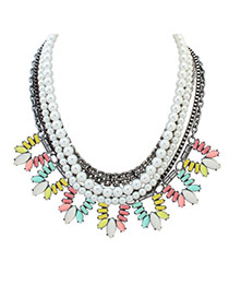 Fashion Multi-color Oval Shape Diamond&pearls Decorated Multi-layer Necklace