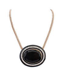 Exaggerated Black Big Oval Gemstone Pendant Decorated Simple Necklace
