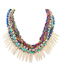 Vintage Multi-color Leaf Shape Tassel Pendant Decorated Hand-woven Necklace