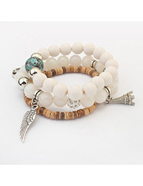 Vintage White Wing&eiffel Tower Shape Pendant Decorated Multilayer Bracelet