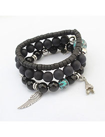 Vintage Black Wing&eiffel Tower Shape Pendant Decorated Multilayer Bracelet