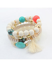 Vintage White Tassel Pendant Decorated Multilayer Bracelet
