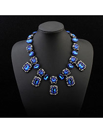 Fashion Sapphire Blue Geometric Shape Gemstone Decorated Short Chian Simple Necklace