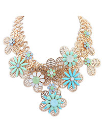 Elegant Blue Hollow Out Flower Decorated Patchwork Design Simple Necklace