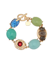 Fashion Multi-color Lock Pendant Decorated Oval Shape Design Simple Bracelet