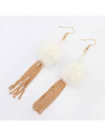 Fashion White Feather Decorated Simple Tassel Earrings