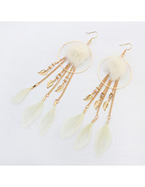 Trendy White Feather&round Shape Decorated Tassel Earrings