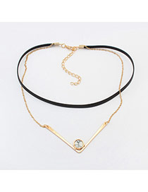 Fashion Gold Color+white Round Shape Decorated Double Layer Simple Choker