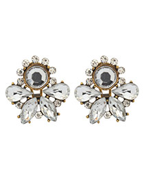 Luxury White Round&waterdrop Diamond Decorated Hollow Out Earring
