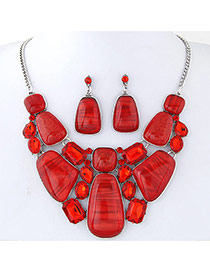 Trendy Red Irregular Shape Gemstone Decorated Simple Jewelry Sets