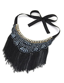 Vintage Black Long Tassel Pendant Decorated Irregular Shape Simple Collar Necklace