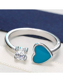 Sweet Silver Color+blue Heart Shape&round Shape Diamond Decorated Opening Ring