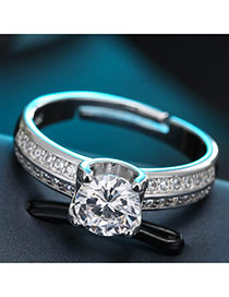 Sweet Silver Color Big Round Shape Diamond Decorated Pure Color Ring