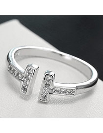 Sweet Silver Color Diamond Decorated T Shape Design Pure Color Opening Ring
