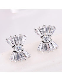 Sweet Silver Color Round Shape Diamond Decorated Bowknot Shape Earrings