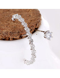 Sweet Silver Color Round Shape Diamond Moon Shape Asymmetric Earrings