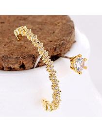 Sweet Gold Color Round Shape Diamond Moon Shape Asymmetric Earrings