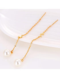 Sweet Gold Color Pearl&star Pendant Decorated Simple Earrings