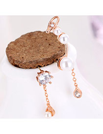 Sweet Rose Gold Diamond&pearl Decorated Asymmetric Design Earrings