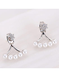 Sweet Silver Color Pearls&diamond Decorated Semicircle Shape Design Earrings