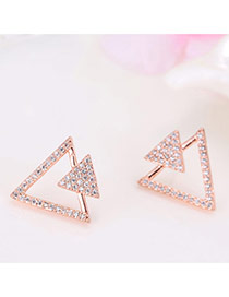 Sweet Rose Gold Full Diamond Decorated Double Triangle Shape Design Earrings
