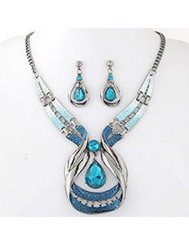 Personality Light Blue Whatershape Diamond Decorated Hollow Out Jewelry Sets