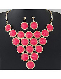Elegant Plum Red Pure Color Decorated Round Shape Design Jewelry Sets