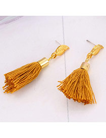 Bohemia Yellow Asymmetric Tassel &metal Leaf Decorated Simple Earrings