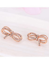 Elegant Rose Gold Round Shape Diamond Decorated Simple Bowknot Design Earrings