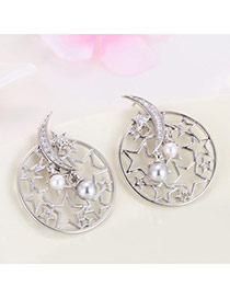 Personality Silver Color Moon&star Shape Decorated Hollow Out Earrings