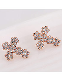 Fashion Rose Gold Round Shape Decorated Cross Shape Design Simple Earrings