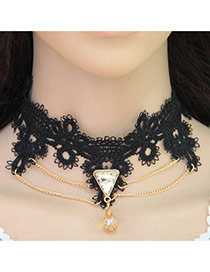 Vintage Black Triangle Shape Gemstone Pendant Decorated Tassel Choker