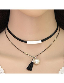 Vintage Black Round &tassle Pendant Decorated Double Layer Choker