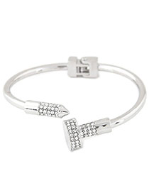 Fashion Silver Color Diamond Decorated Nail Shape Opening Bracelet
