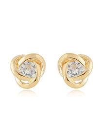 Sweet Gold Color Diamond Decorated Hollow Out Geometric Shape Earring
