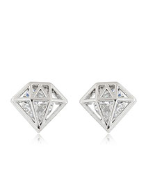 Sweet Silver Color Round Diamond Decorated Hollow Out Triangle Shape Earring