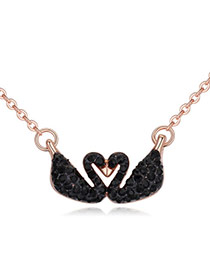 Luxury Black Double Swan Shape Pendant Decorated Pure Color Necklace