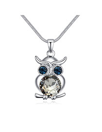 Luxury Black Owl Shape Pendant Decorated Simple Necklace