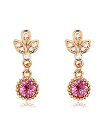Luxury Champaign Gold+light Plum Red Leaf Shape&diamond Decorated Tassel Earring