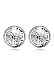 Luxury White Diamond Decorated Simple Round Shape Earring