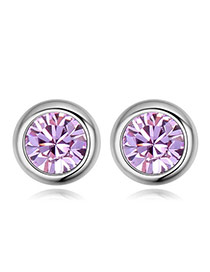 Luxury Violet Diamond Decorated Simple Round Shape Earring