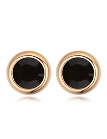 Luxury Champaign Gold+black Diamond Decorated Simple Round Shape Earring