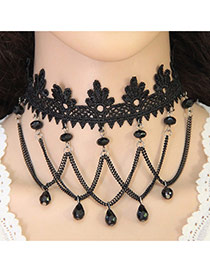 Elegant Black Waterdrop Shape Beads Tassel Pendant Decorated Hollow Out Chocker