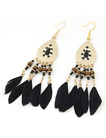 Elegant Black Feather Tassel Pendant Decorated Waterdrop Earring