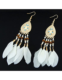 Elegant White Feather Tassel Pendant Decorated Waterdrop Earring